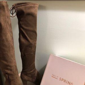 Over knee faux suede heeled side zip top tie boots